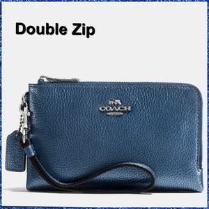 Metallic blue double zip